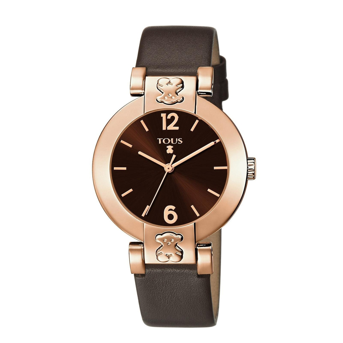 Pink IP Steel Plate Round Watch with brown Leather strap