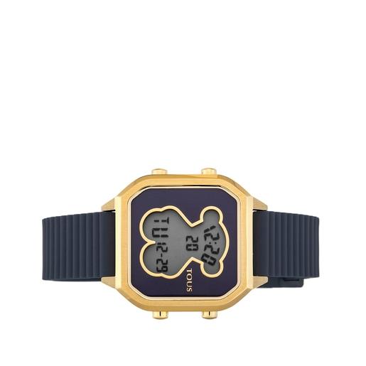 Reloj D-Bear Teen de acero IP dorado con correa de silicona azul