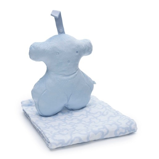 Kaos muslin blanket with a Bear cover in sky blue