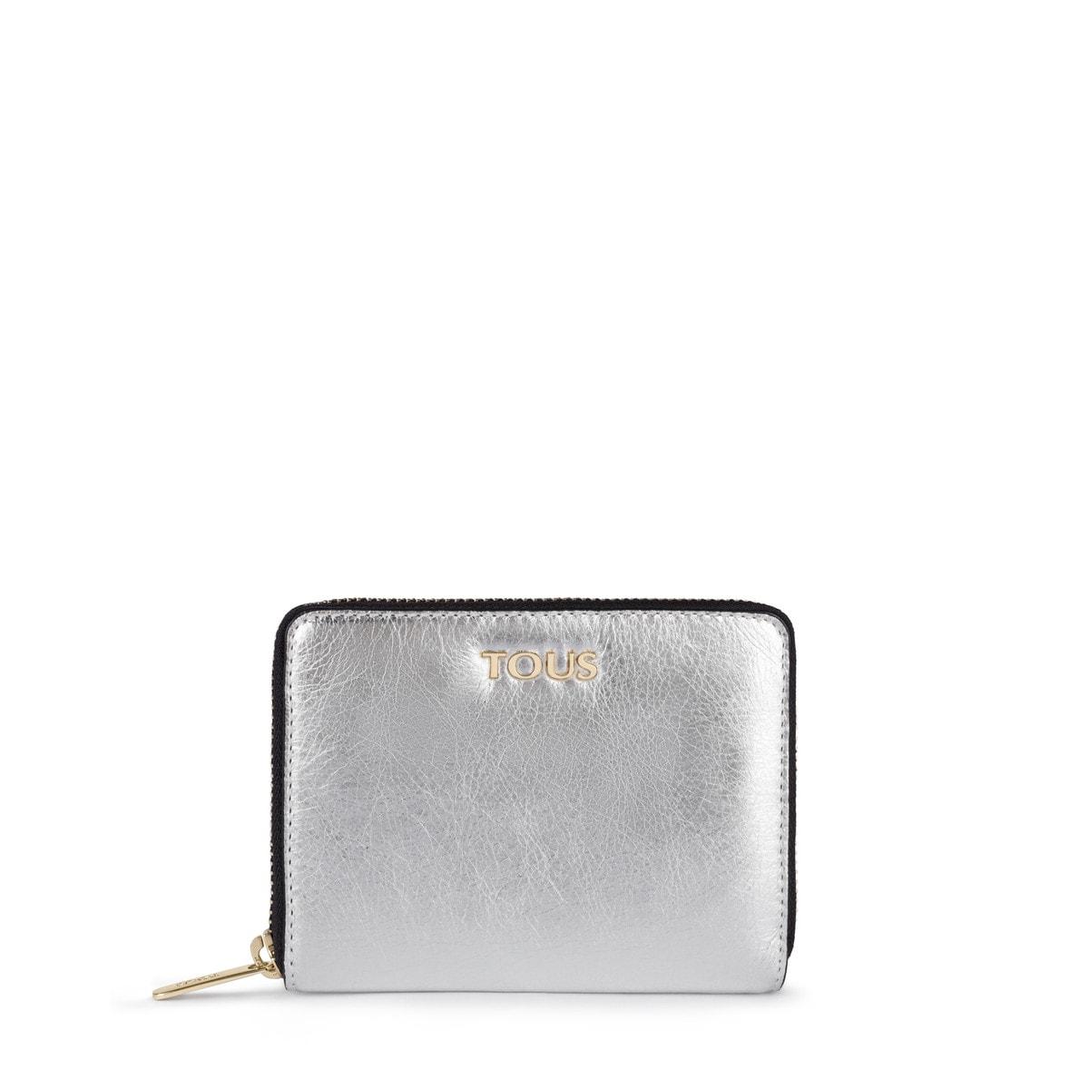 8e04e39475f3 Small silver colored Leather Tulia Crack Wallet - Tous Site GB