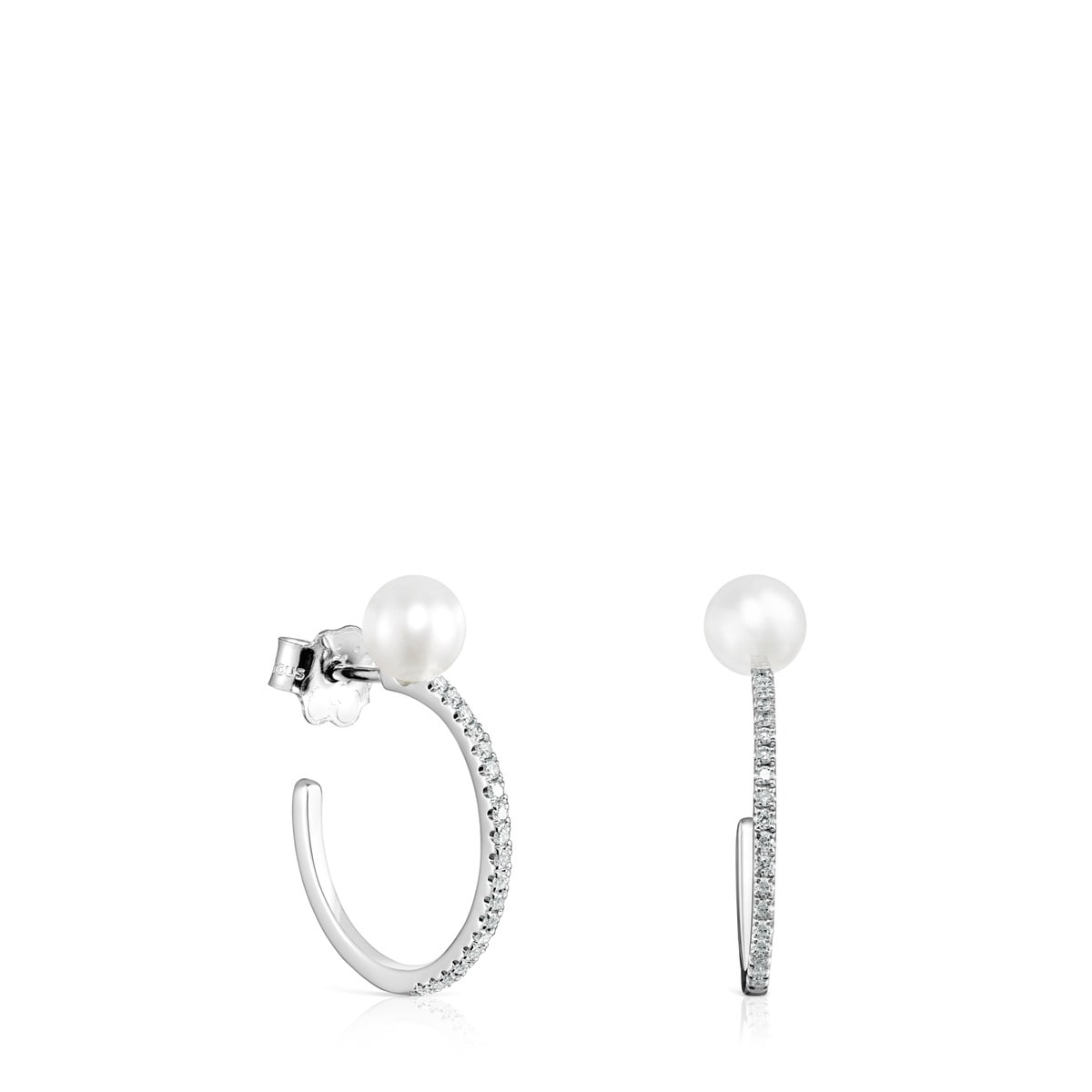 43a59503a8897 Large Les Classiques Earrings in White Gold with Diamond and Pearl