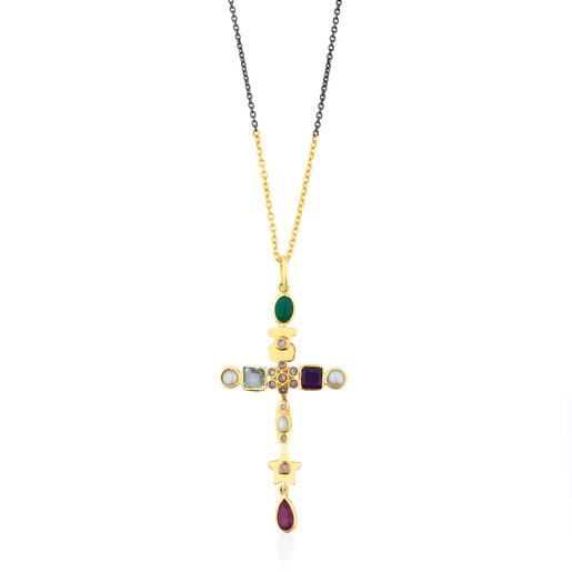 Gold and Silver Gem Power Necklace with Gemstones