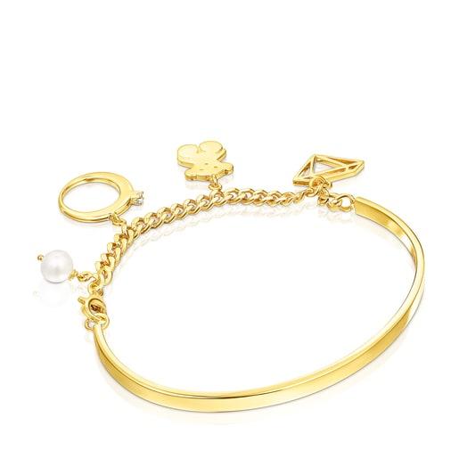 Bracelet Job breloques en Argent Vermeil avec Topaze et Perle