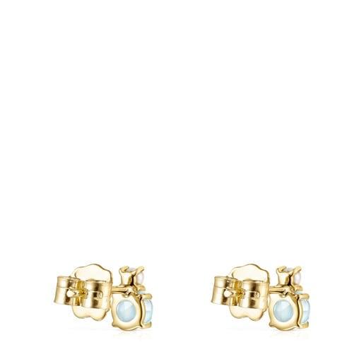 Pendientes Mini Ivette de Oro con Topazio y Perla