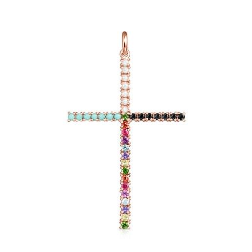 Colgante Straight cruz de Plata Vermeil rosa con Gemas
