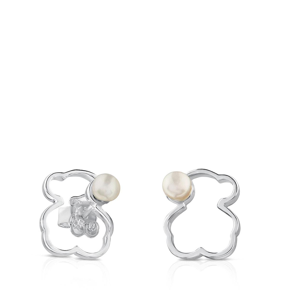 Silver Silueta Earrings With Pearl Tous Site Us