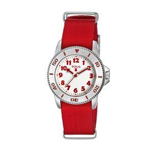 Rellotge Aquatous 2 d'acer amb corretja de niló vermell