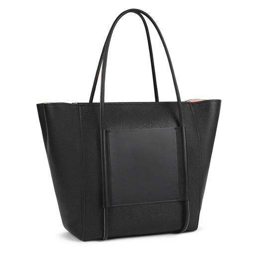 Large black Leather TOUS Empire Shopping bag