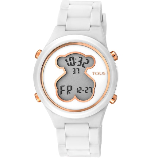 Polycarbonate D-Bear Watch with white silicone strap