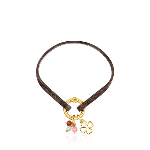 Silver Vermeil TOUS Good Vibes clover Bracelet with Gemstones and brown Cord