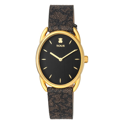 Gold-colored IP Steel Dai Watch with black Leather Kaos strap