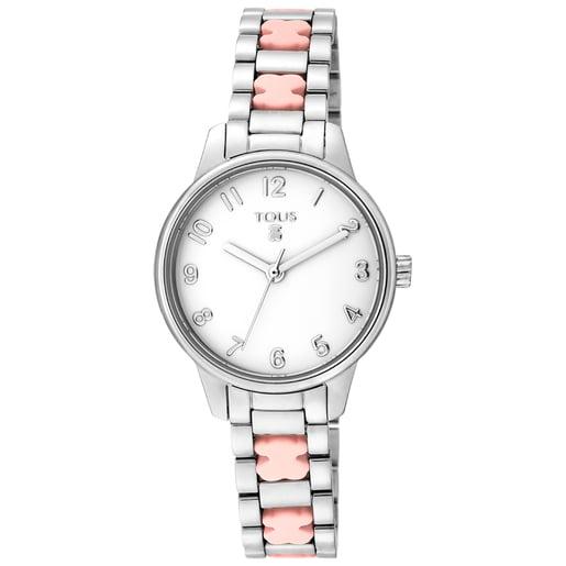 Steel Beary Watch with pink bear bracelet