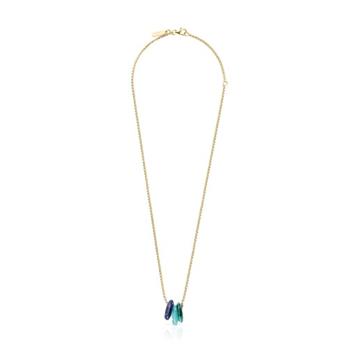 Hold Gems Silver Vermeil Necklace with Malachite, Amazonite and Lapis Lazuli