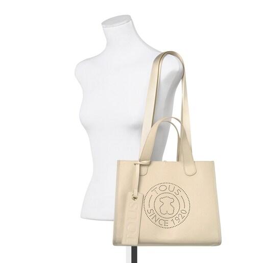 Μεσαίου μεγέθους μπεζ τσάντα Tote Leissa από δέρμα