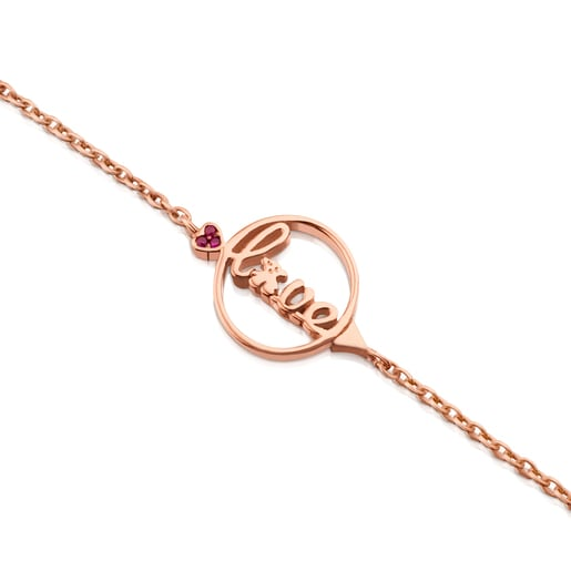 Bracelet TOUS San Valentín en Argent Vermeil rose avec Rubis.