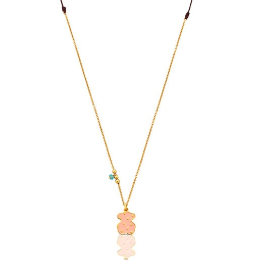 Vermeil Silver Face Necklace with Enamel and Apatite