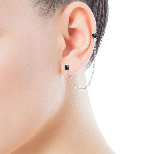 Pendiente piercing doble de plata con ónix TOUS Mini Onix