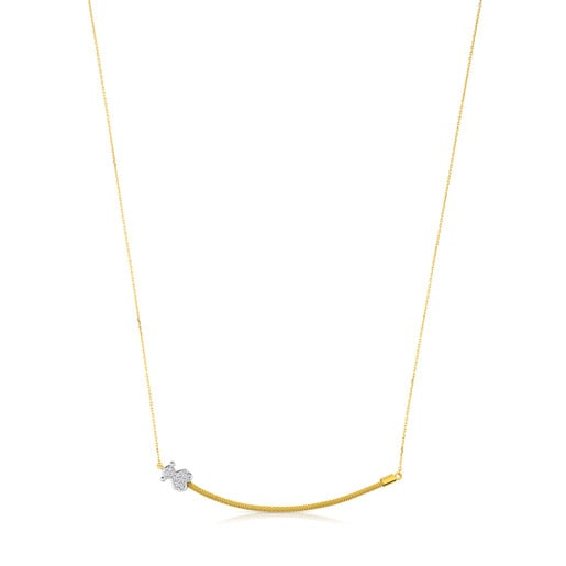White Gold and Diamonds Icon Mesh Necklace