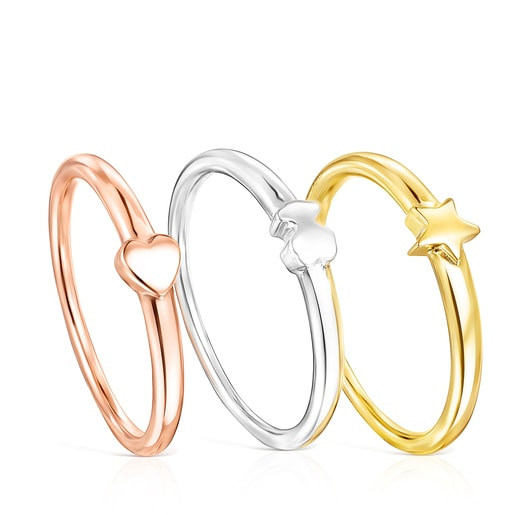Silver, Silver Vermeil and rose Silver Vermeil Ring Mix motifs Rings set