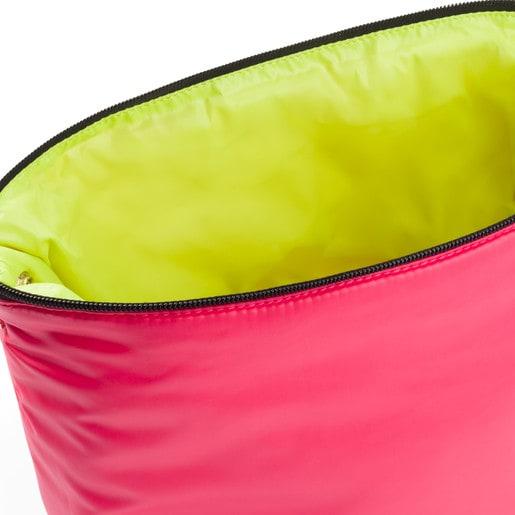 Μικρού μεγέθους τσάντα δύο όψεων Kaos Shock σε φιστικί-κοραλί χρώμα