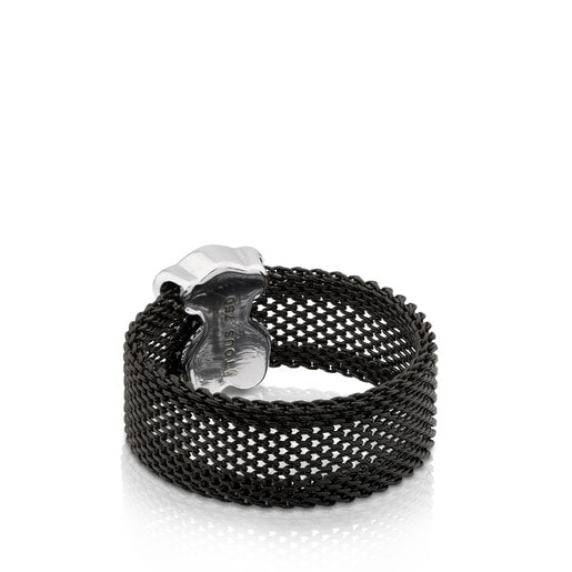 Black IP Steel and White Gold TOUS Icon Mesh Ring with Diamonds 0,14ct