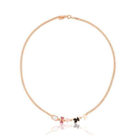Collar de plata vermeil rosa con cinco motivos de ónix, cuarzo, rubies y espinelas Join