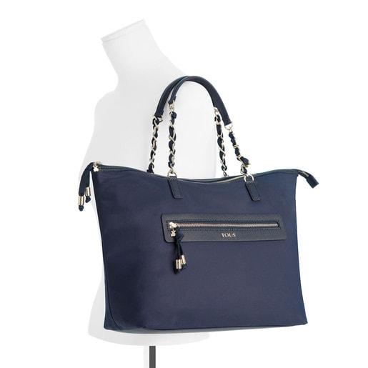 Tote bag Brunock Chain em Lona na cor azul - marinho