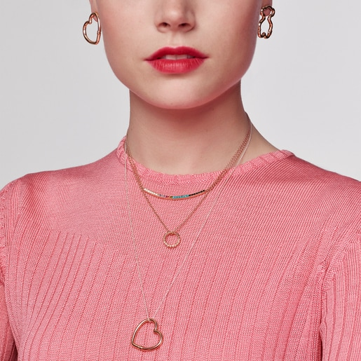 Aros medianos Hold corazón de Plata Vermeil rosa