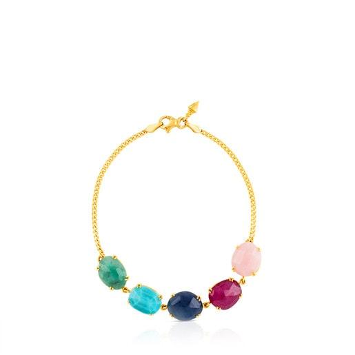Gold Beethoven Bracelet with five multicolour Gemstones