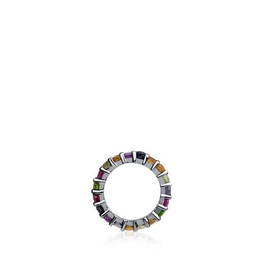 Large Dark Silver Shield Pendant with Gemstones