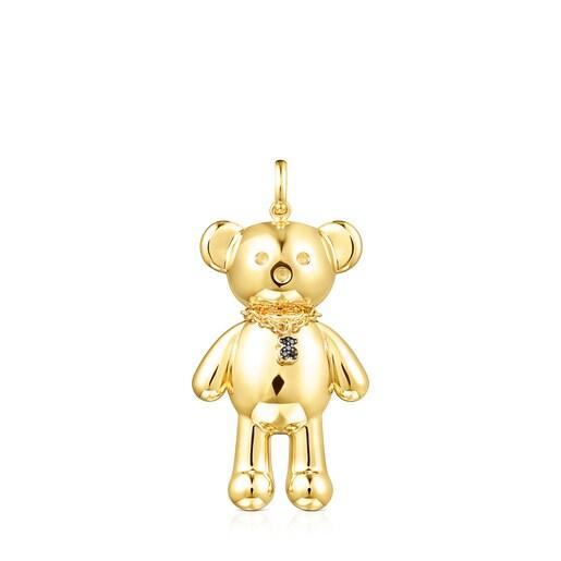 Colgante Teddy Bear collar de Plata Vermeil y Espinelas