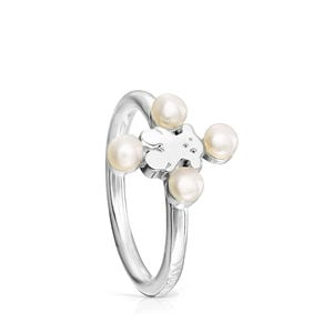 Silver Real Sisy Ring with Pearls