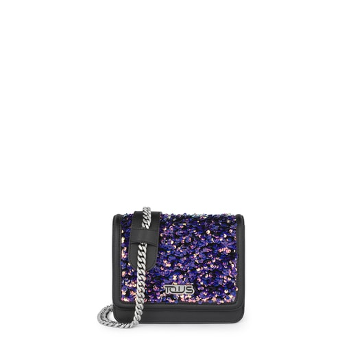 Ruby Crossbody bag with black/multi-lilac sequins