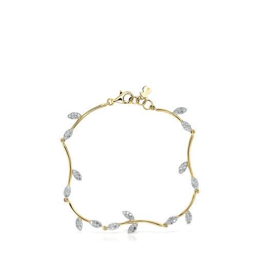 Gold Real Mix Leaf Bracelet with Diamonds