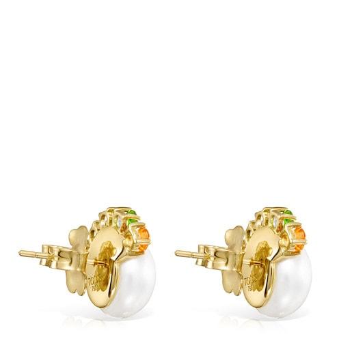 Aretes Real Sisy de Oro con Perla grande y Gemas