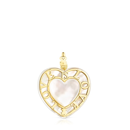 Gold San Valentín heart Pendant with Mother-of-pearl