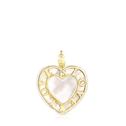 Herz-Halskette San Valentín aus Gold mit Perlmutt