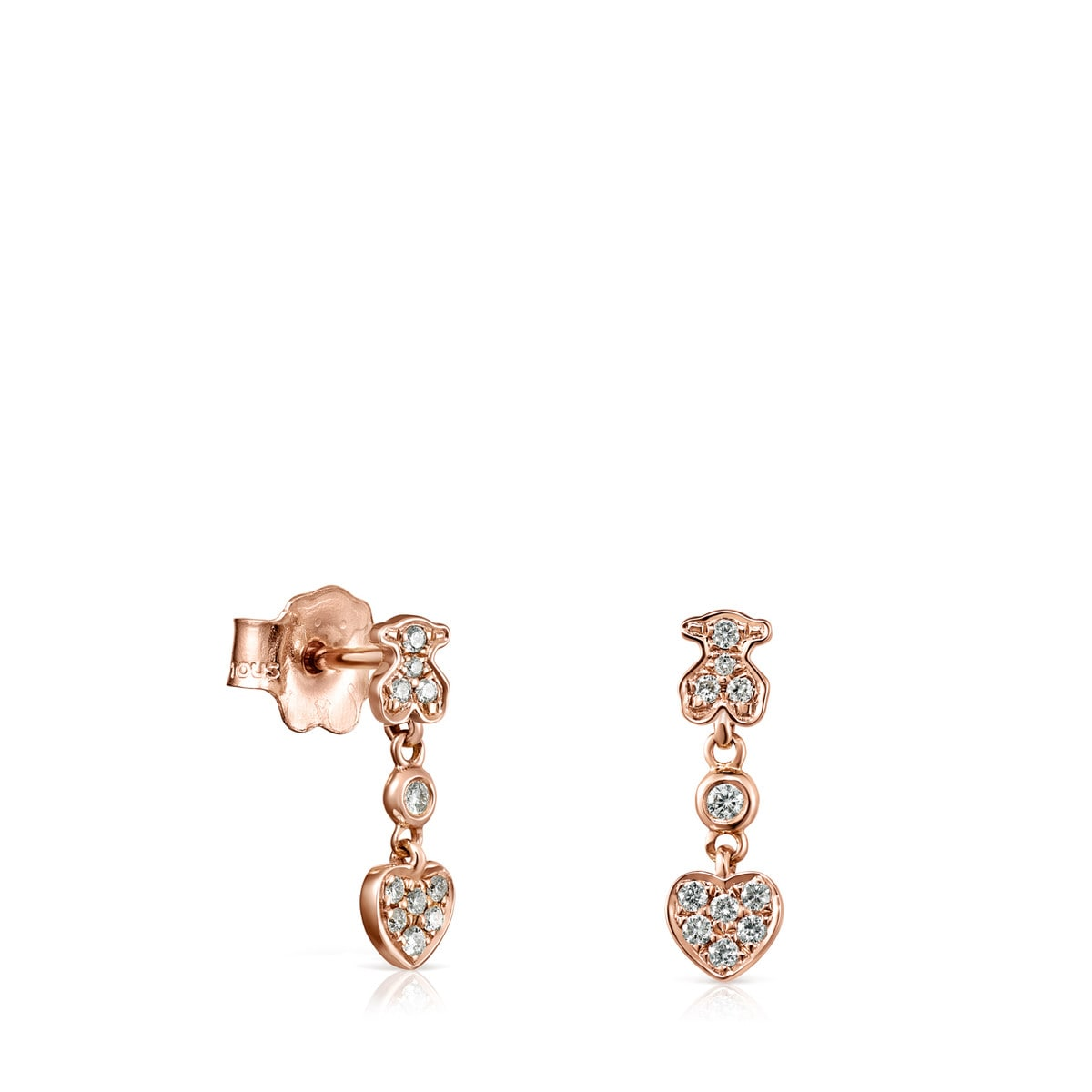 Short rose Gold Les Classiques Earrings with Diamonds