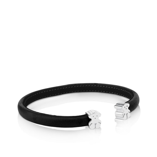 Silver and Black Leather Sweet Dolls Bracelet