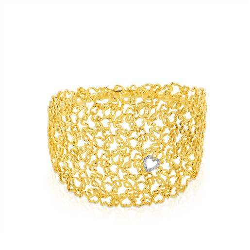 Yellow and White Gold Milosos Cuff with Diamond