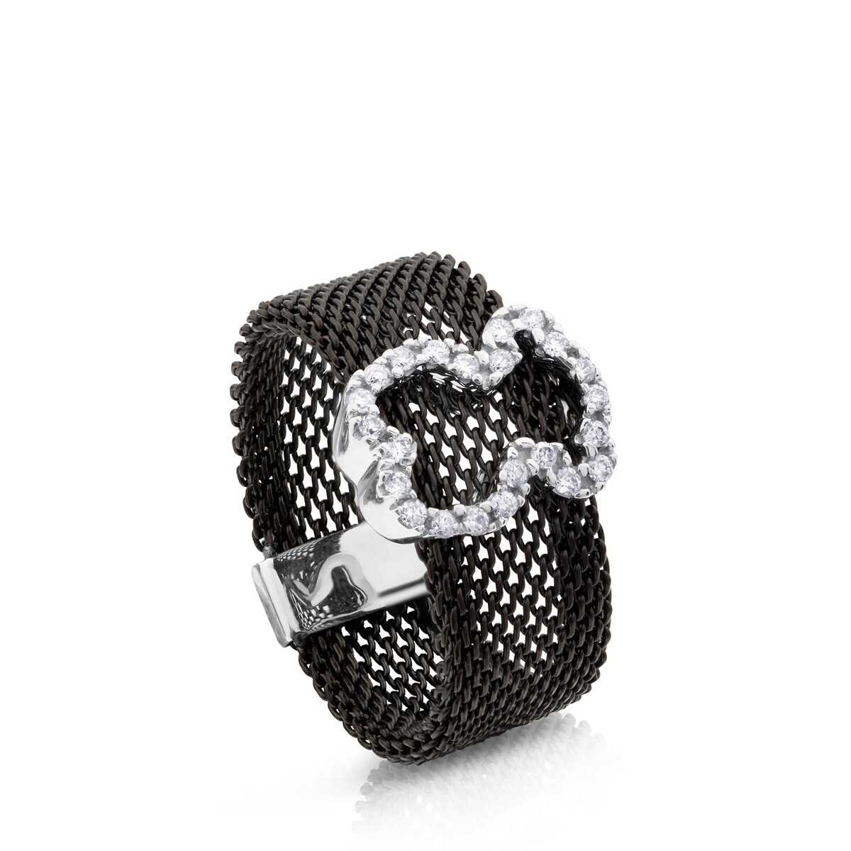 e62db9eaad0ae Steel and White Gold Icon Mesh Ring with Diamonds