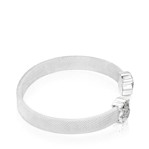 Pulsera Mesh Color de Plata y Cuarzo Turmalinado