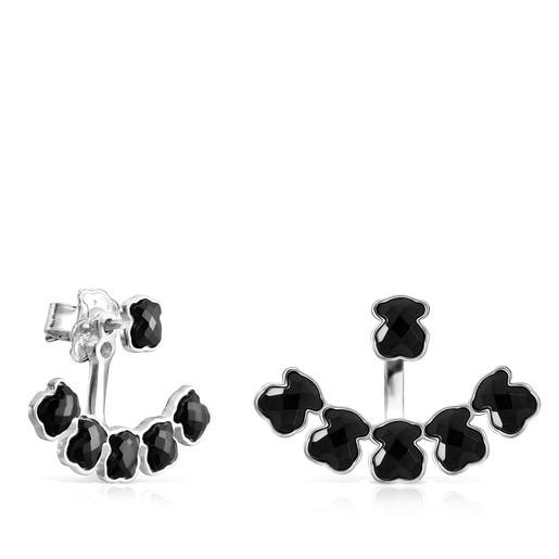 Kurze Ohrringe Mini Onix aus Silber mit sechs Bären aus Onyx