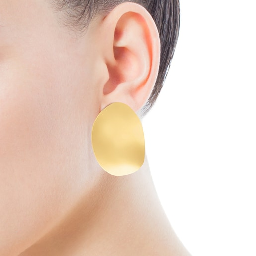 Medium Silver Vermeil Nenufar petal Earrings