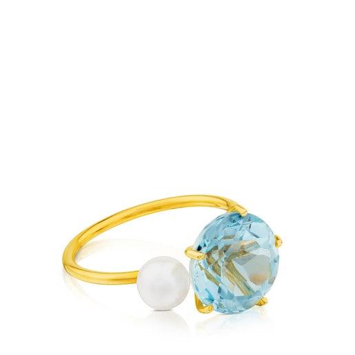 Δαχτυλίδι Ivette από Χρυσό με Τοπάζιο και Μαργαριτάρι