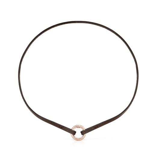 Brown Leather Hold Bracelet and Choker Set