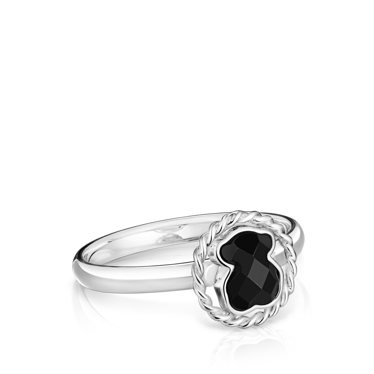 Silver TOUS Color Ring with Onyx