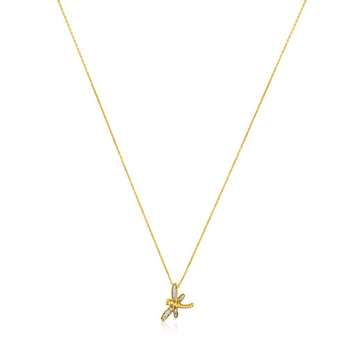 TOUS Bera Necklace in Gold with Diamonds Dragon-fly motif