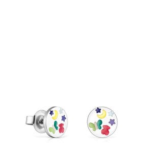 Steel and Enamel Nit Earrings