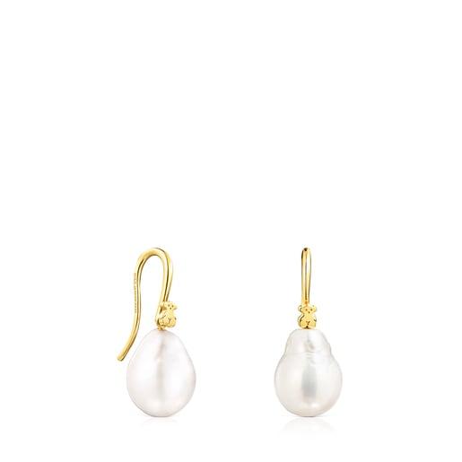 Aretes Gloss gota de plata vermeil y perla